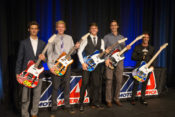 The 2017 MotoAmerica Champions - (from left to right) Jason Aguilar, Benjamin Smith, Garrett Gerloff, Mathew Scholtz and Toni Elias - at last year's Night of Champions with their Dunlop guitars. This year's gala will be held at the Mandalay Bay in Las Vegas.|Photo by Brian J. Nelson