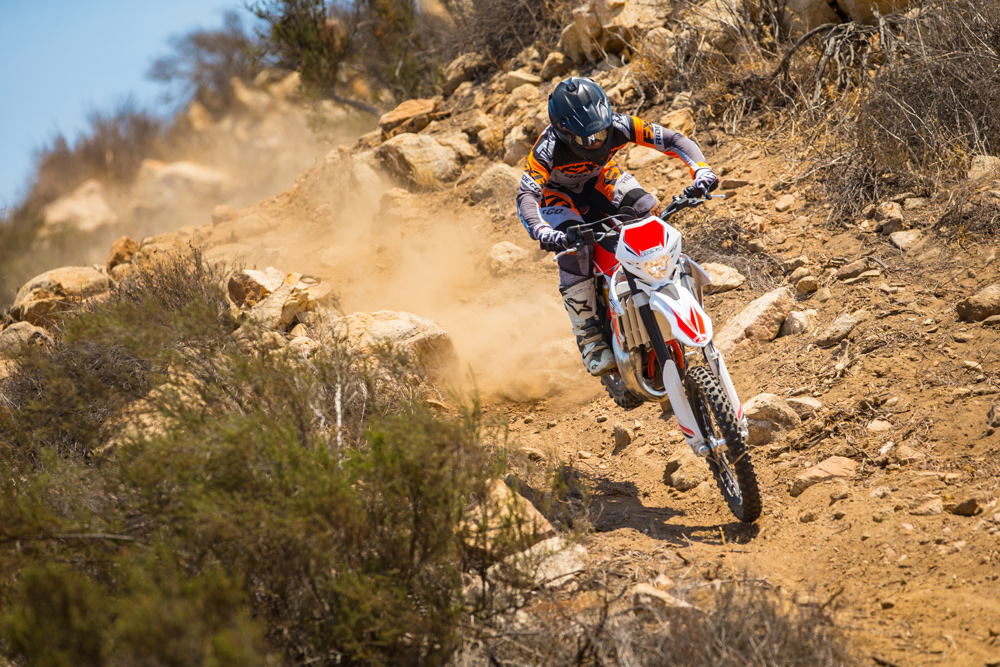 Two-strokes and lightweight go well together when it comes to rough terrain.
