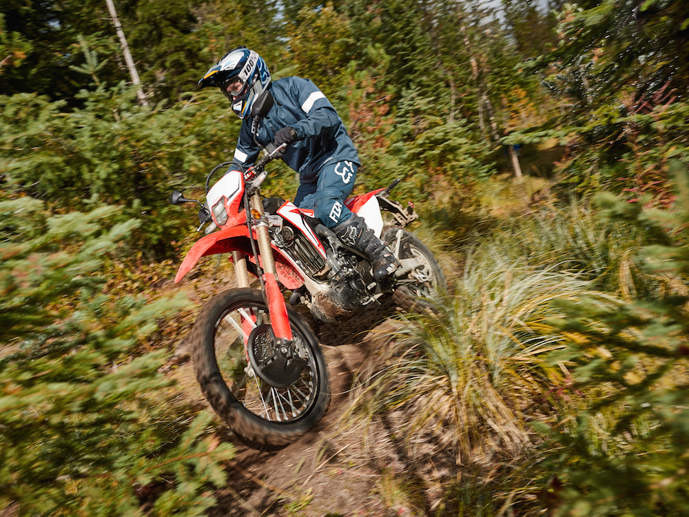 Riding the CRF450L for the first time.