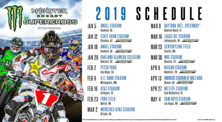 2019 AMA Supercross Schedule