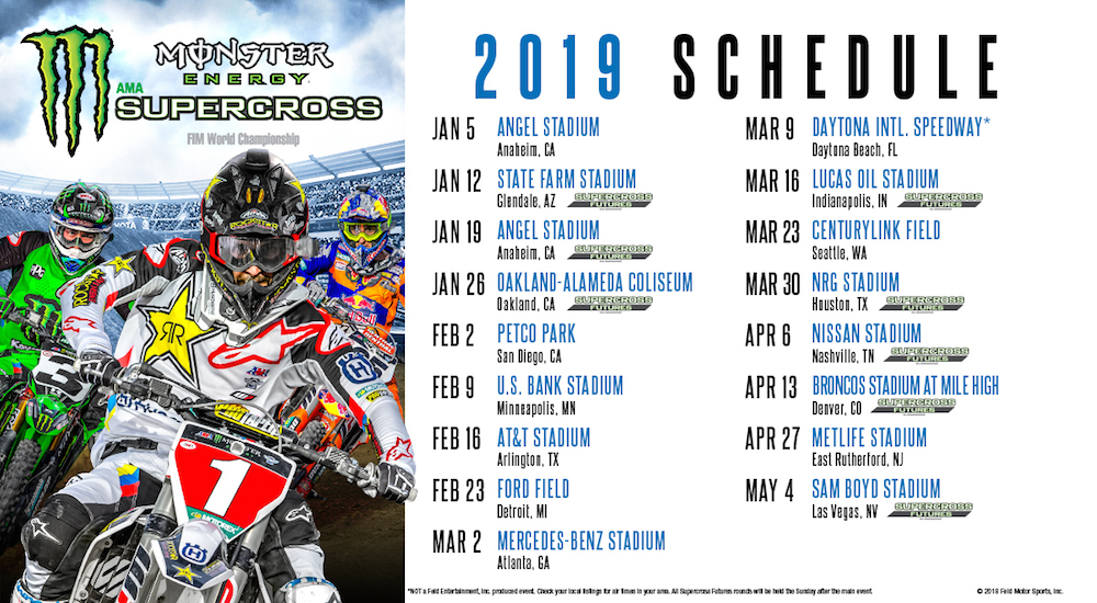 2019 Monster Energy AMA Supercross Schedule Released