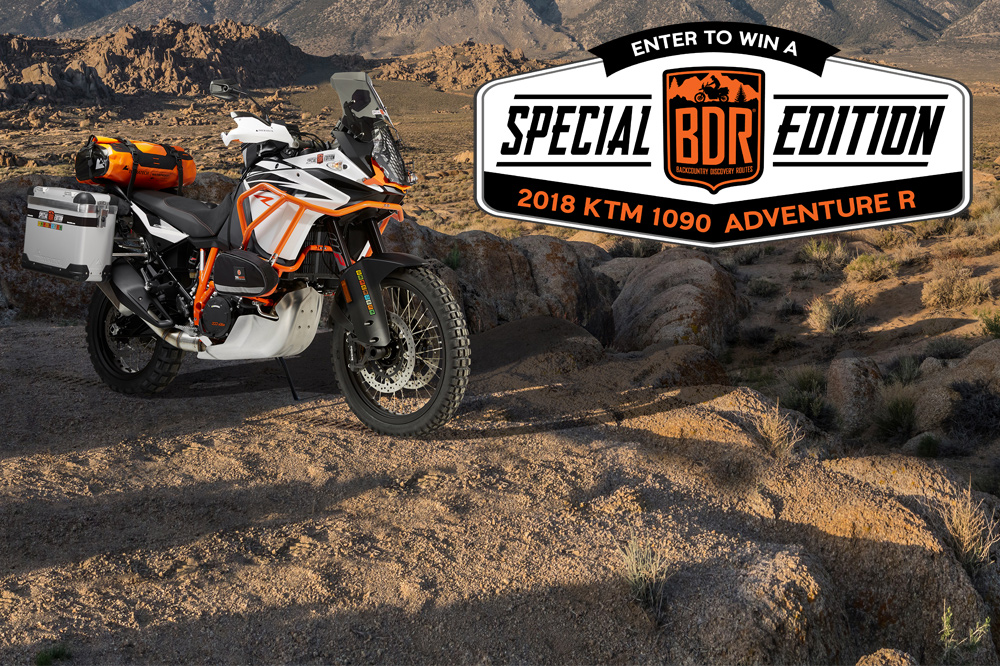 Special Edition KTM 1090 Adventure R to be given away to raise funds for the non-profit Backcountry Discovery Routes.