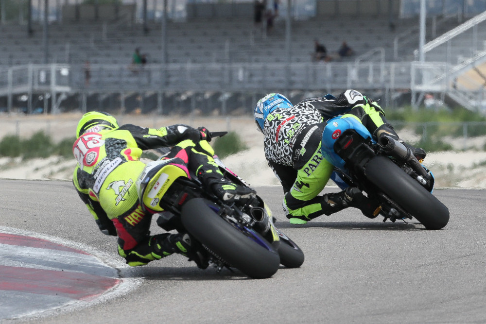 Chris Parrish leads Jason Madama by just two points heading into this weekend's MotoAmerica Twins Cup finale at Barber Motorsports Park.  Photo By Brian J. Nelson