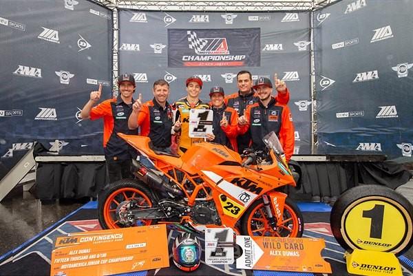 Alex Dumas and the KTM Orange Brigade Team Clinch MotoAmerica Junior Cup Championship