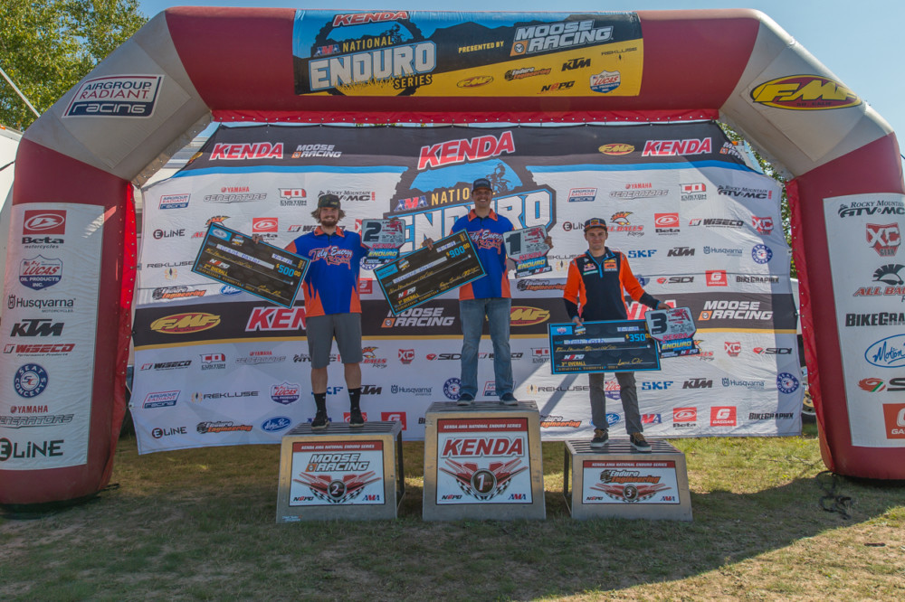 Stewart Baylor (center) won the Loose Moose National Enduro in Pennsylvania.