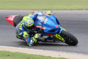 Yoshimura Suzuki's Toni Elias ripped the number one from his Suzuki after losing the 2018 title to Cameron Beaubier and then went out and led the way in the Dunlop tire test on Tuesday at Barber Motorsports Park.|Photo by Brian J. Nelson