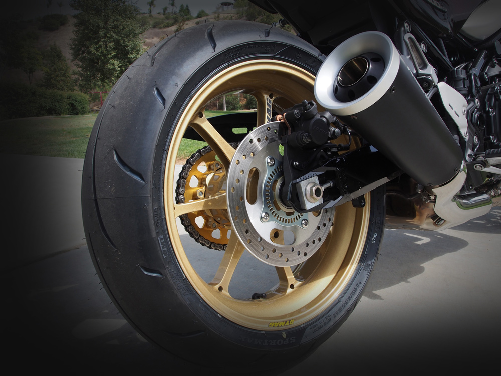 Cycle News been using the UPX7 wheels on our Project Kawasaki Z900RS, which weight nearly 30 percent lighter than standard.