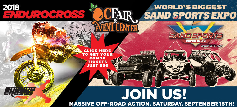 EnduroCross fans and off-road enthusiast can get a combo ticket for the Sand Sports Show for just $36 (a $14 savings).