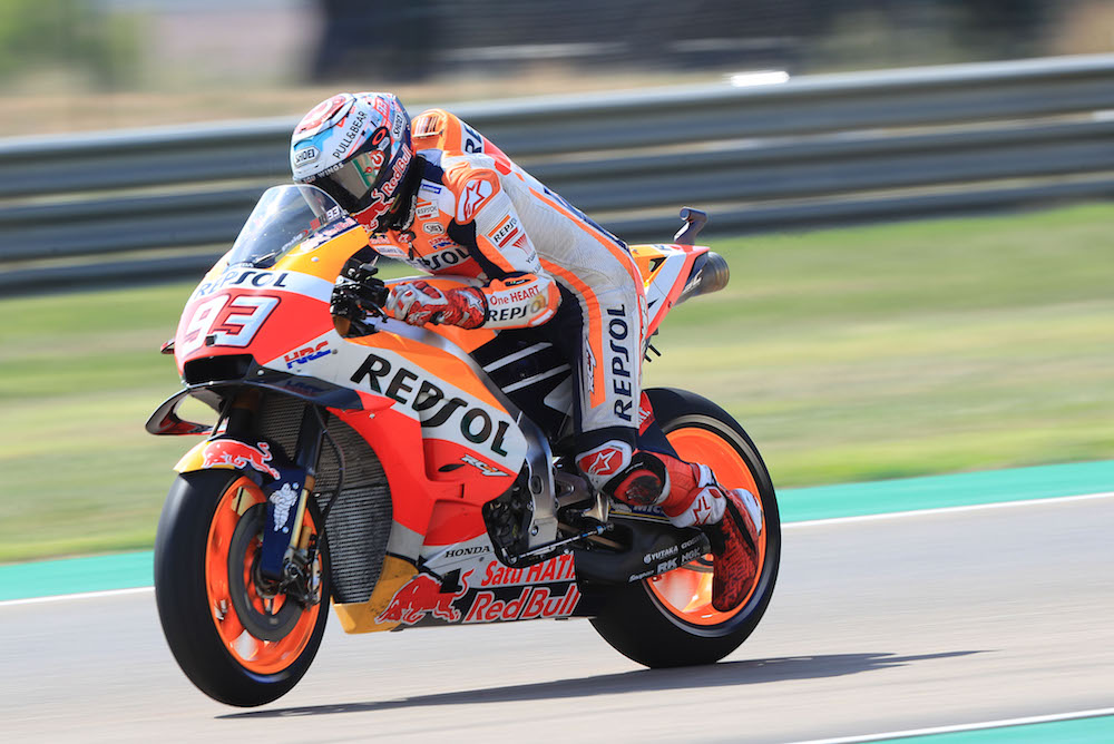 Marc Marquez during first practice at Aragon.