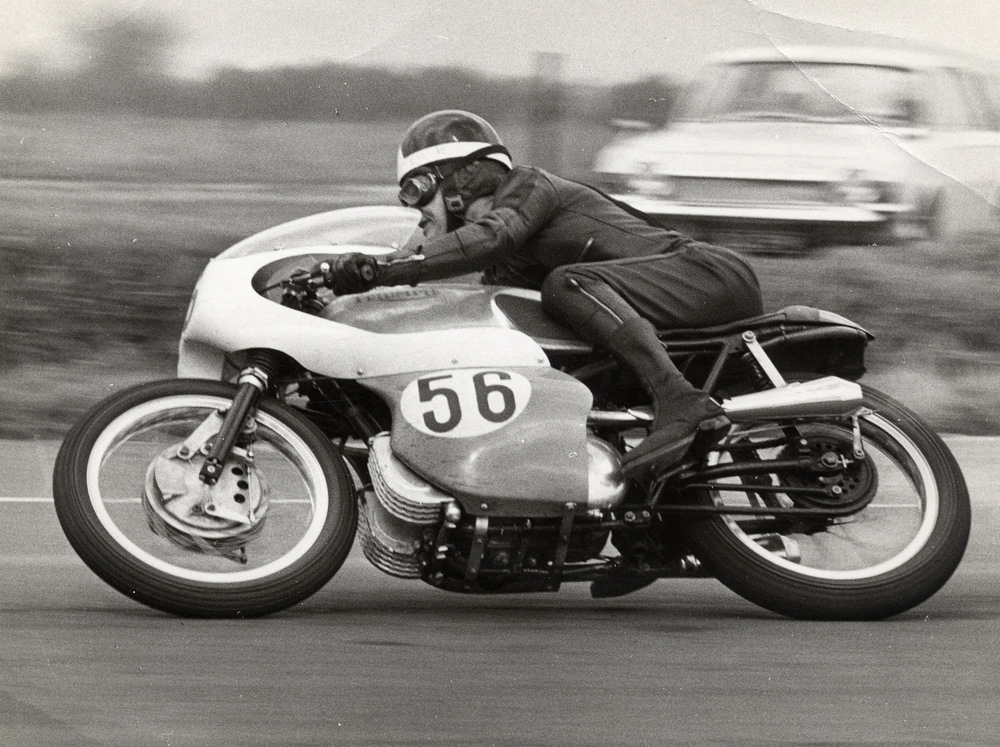 Triumph last competed in Grand Prix racing when factory tester Percy Tait (seen here at Thruxton) finished second to Giacomo Agostini's MV Agusta triple on his 500 Daytona twin in the 1969 500cc Belgian GP run on the ultra-fast Spa-Francorchamps circuit. He was the only rider not to be lapped by the Italian world champion!