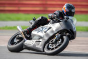 Alan Cathcart swoops around Silverstone's Stowe circuit on the new 765. Moto2 will be very different in 2019!