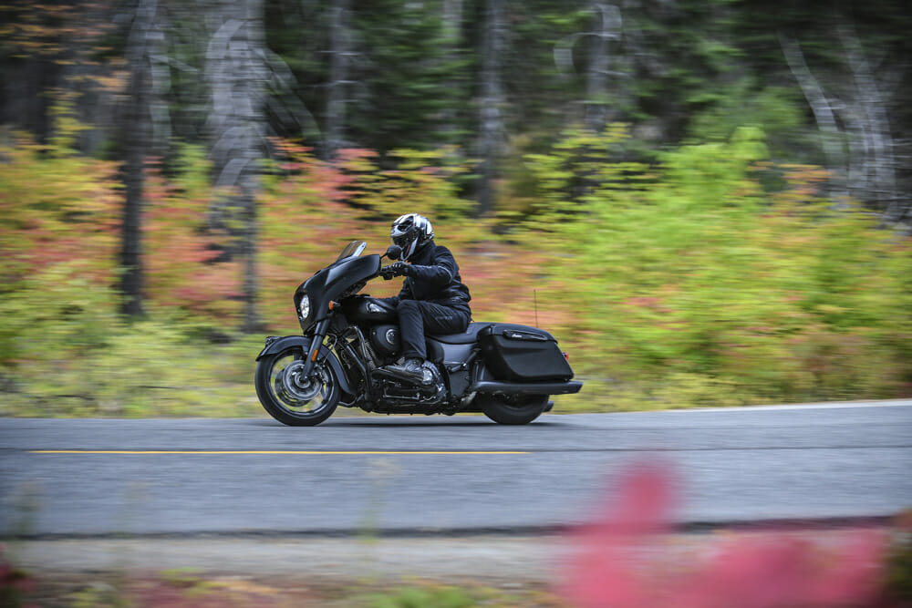 This is a bike with a claimed dry weight of 795 pounds. Yet the Dark Horse is so agile on its feet it feels far less than that.