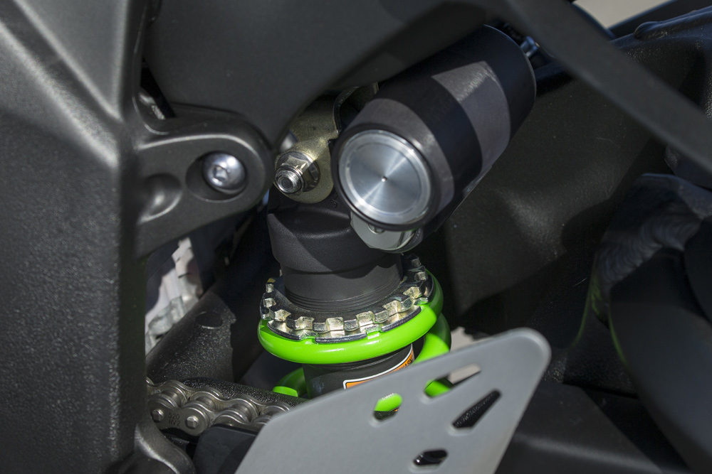 On the KRT edition, the rear spring is green. It makes it more Kawasaki that way.
