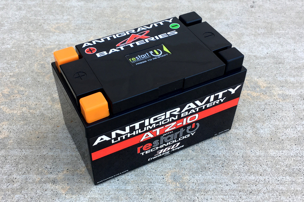 Antigravity's Re-Start lithium-ion battery features a Battery Management System. Why do you care? Because it means you'll still be able to start your bike even if the battery goes dead.