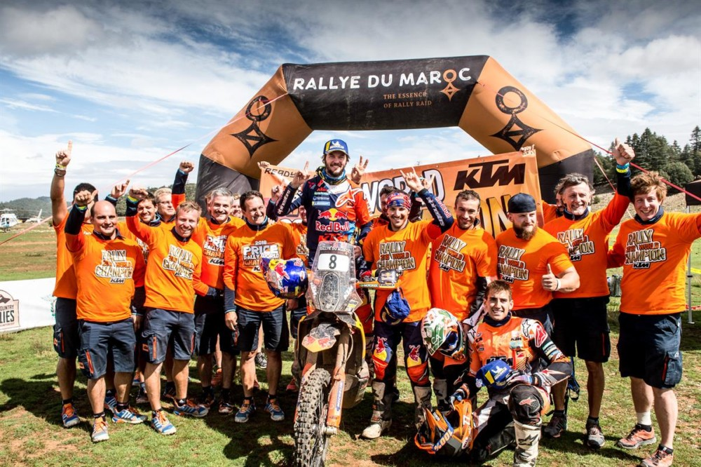 Red Bull KTM Factory Racing rider Toby Price has won the 2018 FIM Cross-Country Rallies World Championship with victory at the final round of the season – the Rally du Maroc