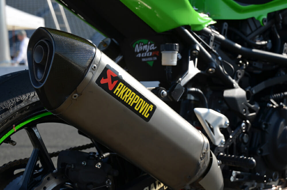 Akrapovic provides the exhaust and as you can see, this one has had a hard life.