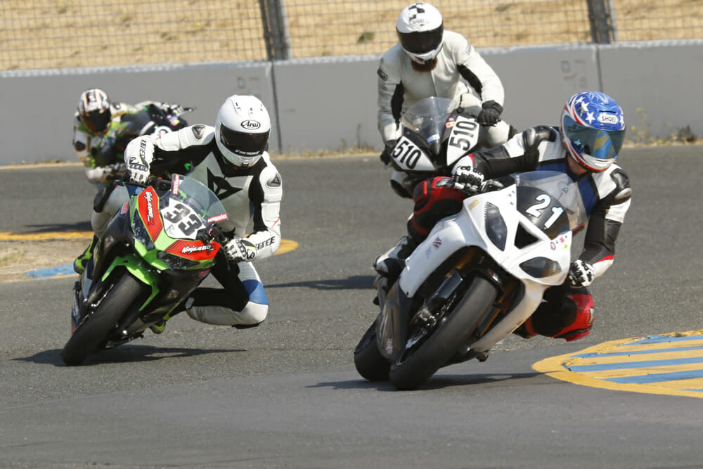 Charging through the pack against the bigger 450 Superbike machines was a laugh.