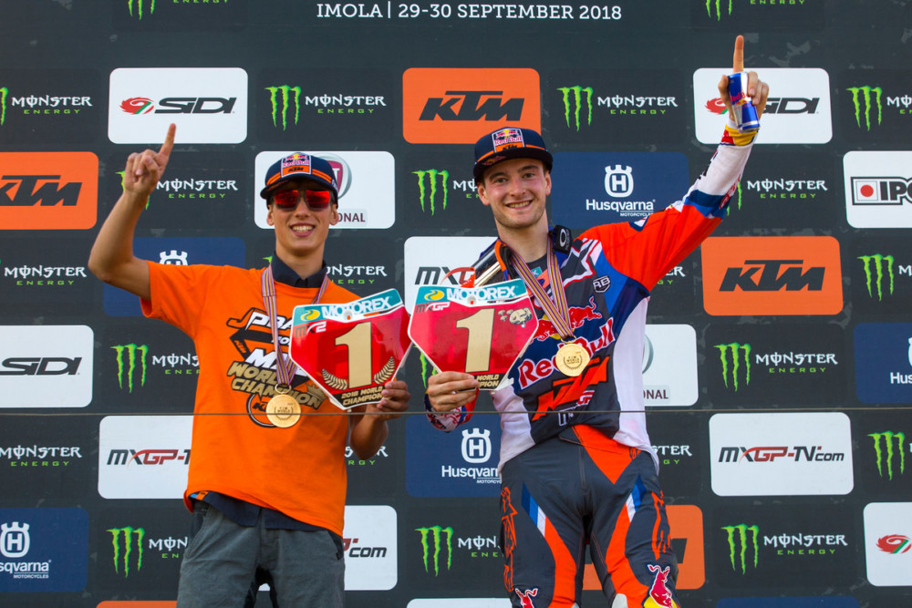 Jorge Prado (left) officially clinched the 2018 MX2 title at Imola.