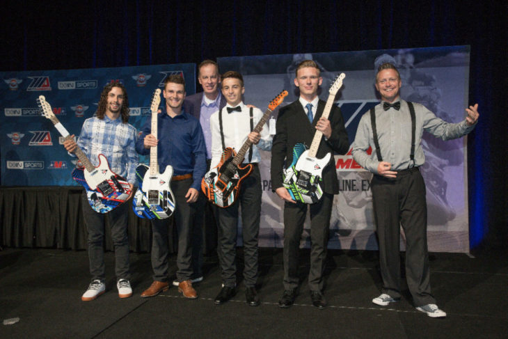 We are the champions: (From left to right) JD Beach, Cameron Beaubier, Dunlop's Mike Buckley, Alex Dumas, Andrew Lee and Chris Parrish (sans his guitar that got delayed in shipping) celebrate with their custom Dunlop guitars. Photo by Brian J. Nelson.