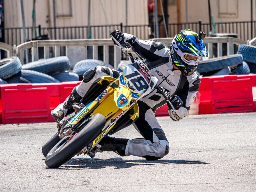One of the great things about supermoto is road race-style can be just as fast as traditional moto style in terms of lap times.