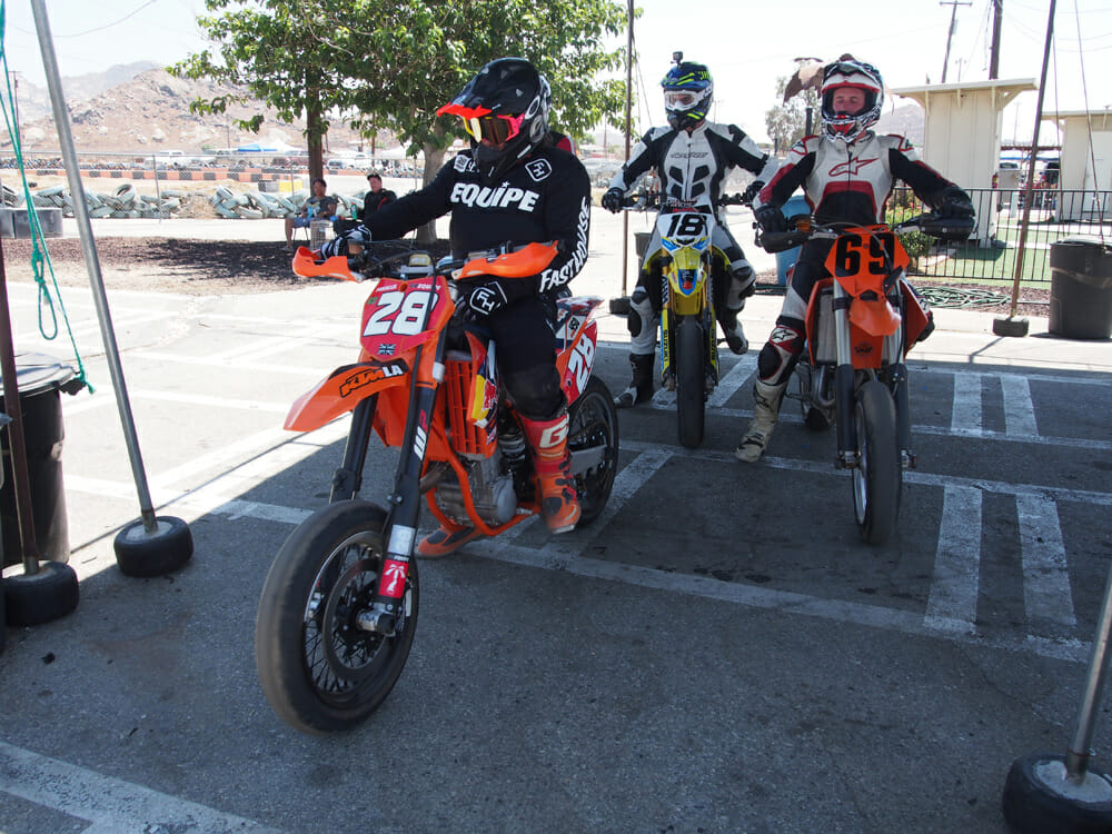 Butterflies and then some as Rennie lines up for his first supermoto race.