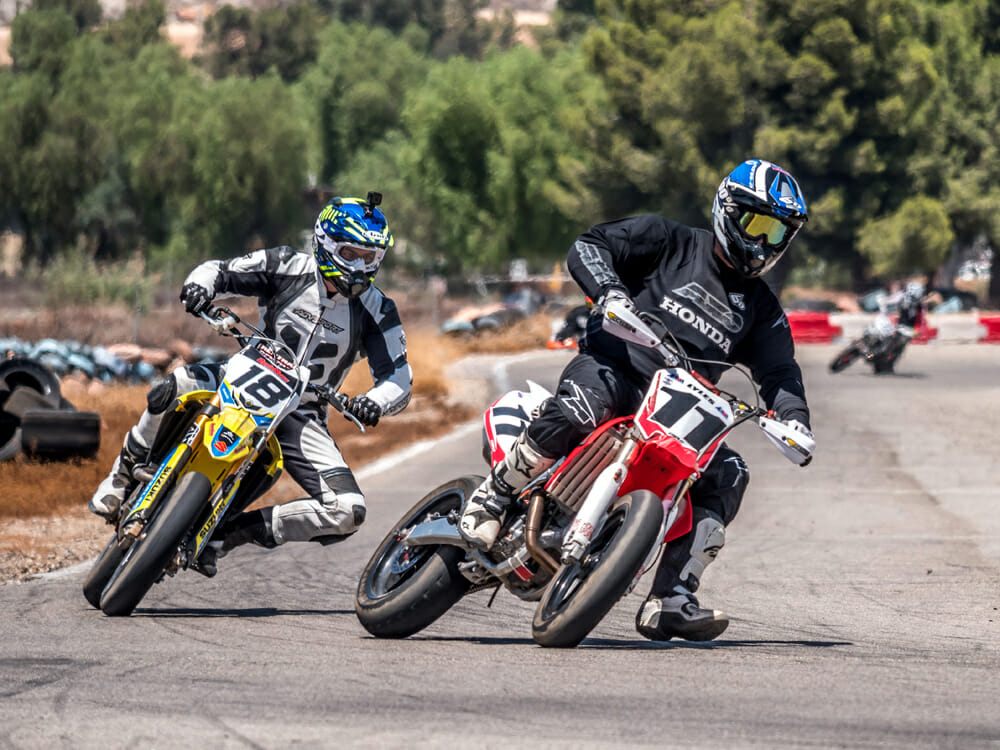 The two styles of supermoto. Doesn't matter what you choose, it just matters what you're comfortable with.