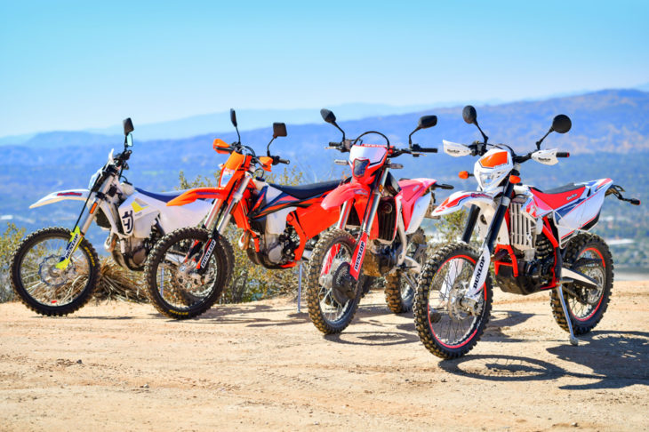 We compare today's most hard-core dual-sport motorcycles: Honda's CRF450L, Beta's 430 RR-S, KTM's 500 EXC-F and Husqvarna's FE 450.
