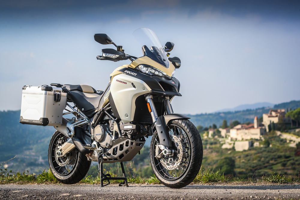 The Multistrada Enduro 1260 is said to be hitting U.S. dealers in February of 2019, and will only be available in the Desert Sand colorway as shown.