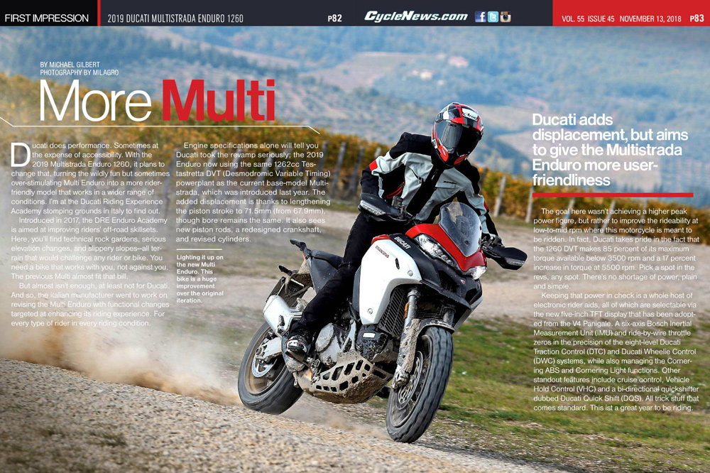 Ducati adds displacement, but aims to give the Multistrada Enduro more user-friendliness