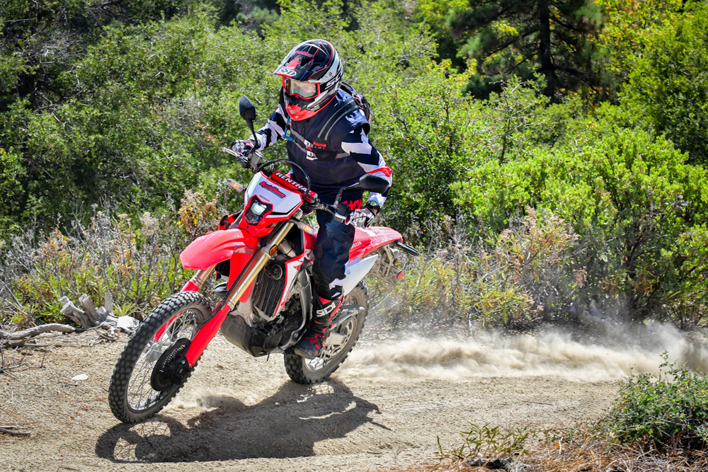 "The ""L"" still has a slight ""traditional"" dual-sport feel on the trail, but it's more than capable when the speeds pick up and the terrain gets tough."
