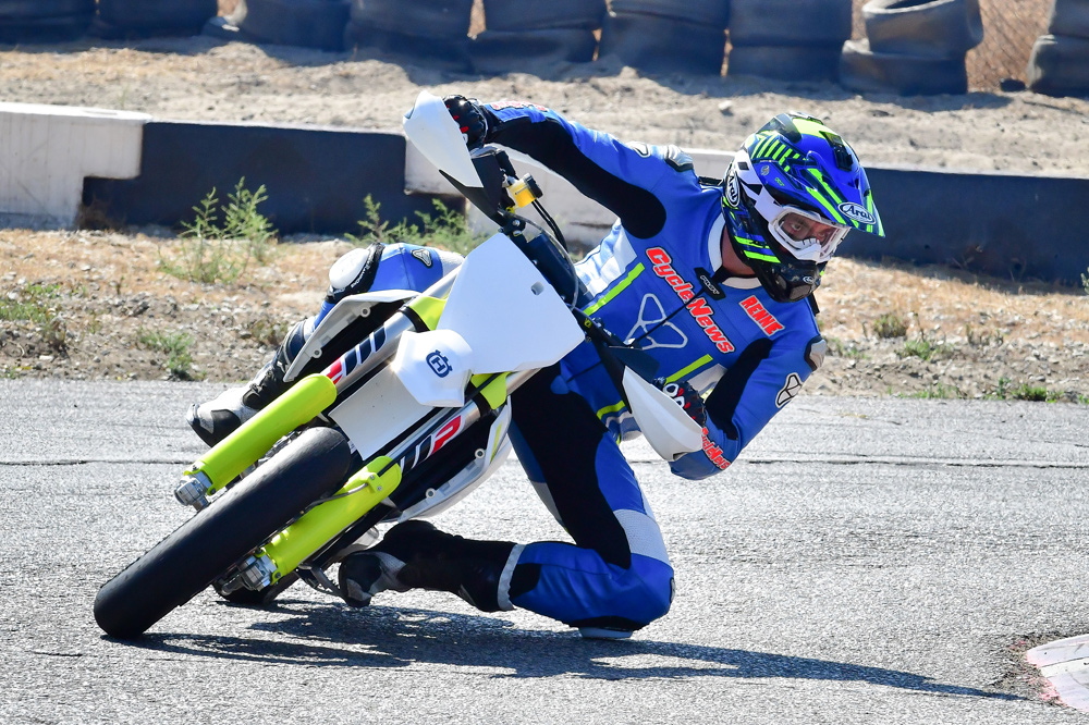 Road race style or proper supermoto. It doesn't matter with the FS as both can produce fast lap times.