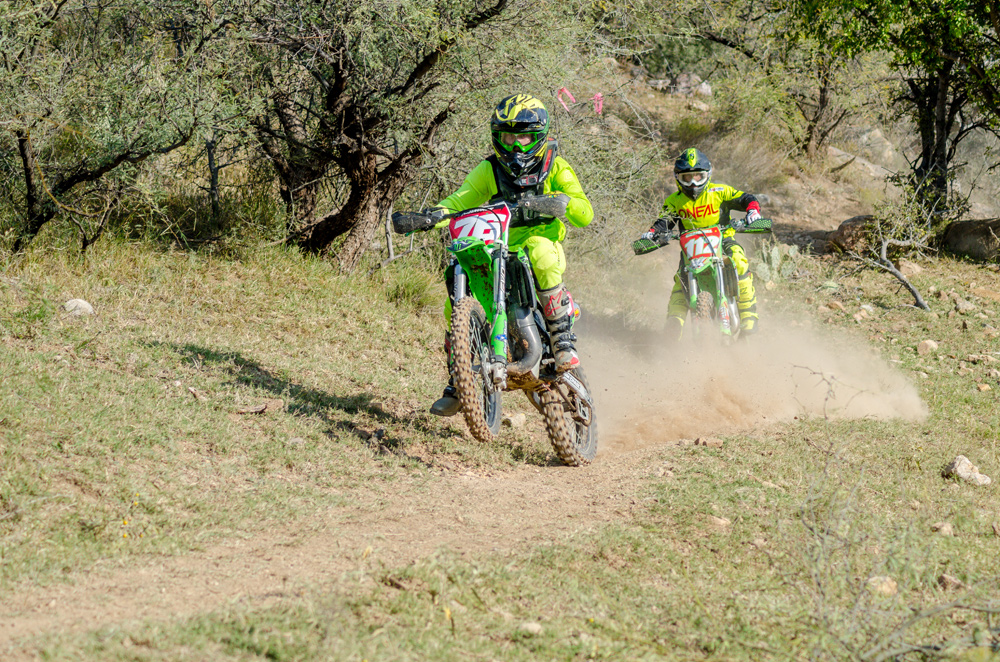 Chase Haynes leads Dominic Craighill on lap 1 of the Supermini race