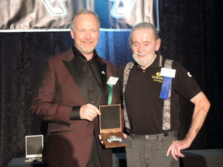 Hobbs with presenter Bob Work, Yamaha Canada tuner American Steve Baker in 70s