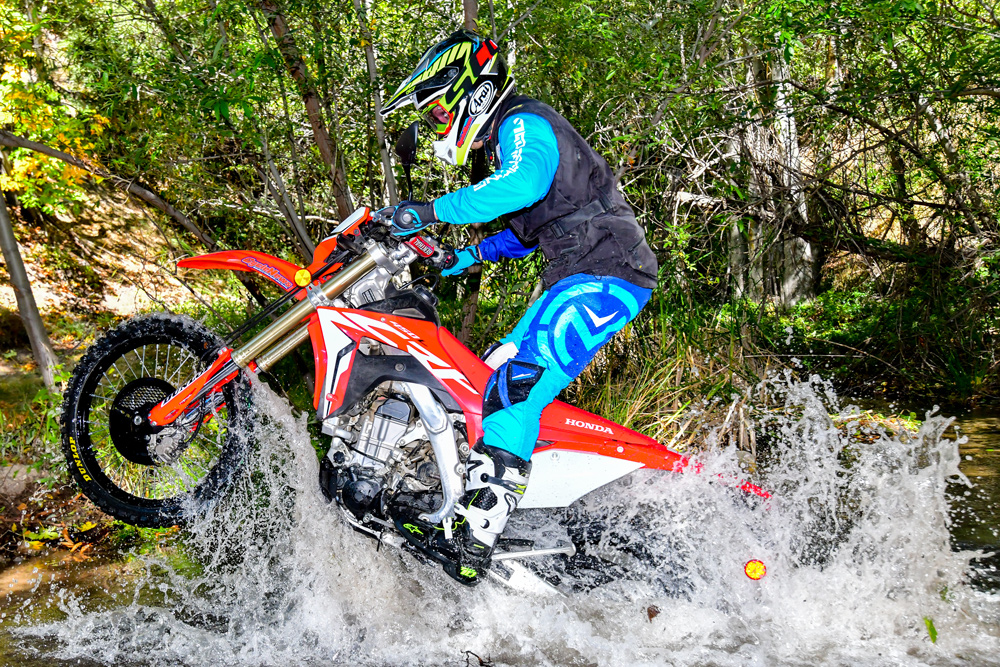 The CRF450L is quite capable of handling all of the elements that you might come encounter on the trail, despite not being the lightest bike in its class.