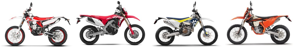 2019 Beta 430 RR-S, 2019 Honda CRF450L, 2019 Husqvarna FE 450, 2019 KTM 500 EXC-F