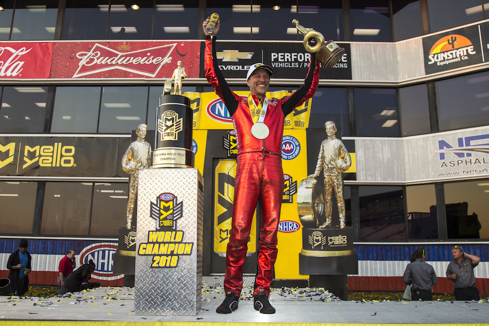 Matt Smith won the 2018 NHRA Pro Stock Motorcycle Championship.