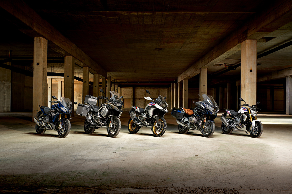 EICMA saw six new models, four of which are here left to right in the R 1250 RS, R 1250 GS Adventure, R 850 GS Adventure, R 1250 RT, and the already released G 310 R.