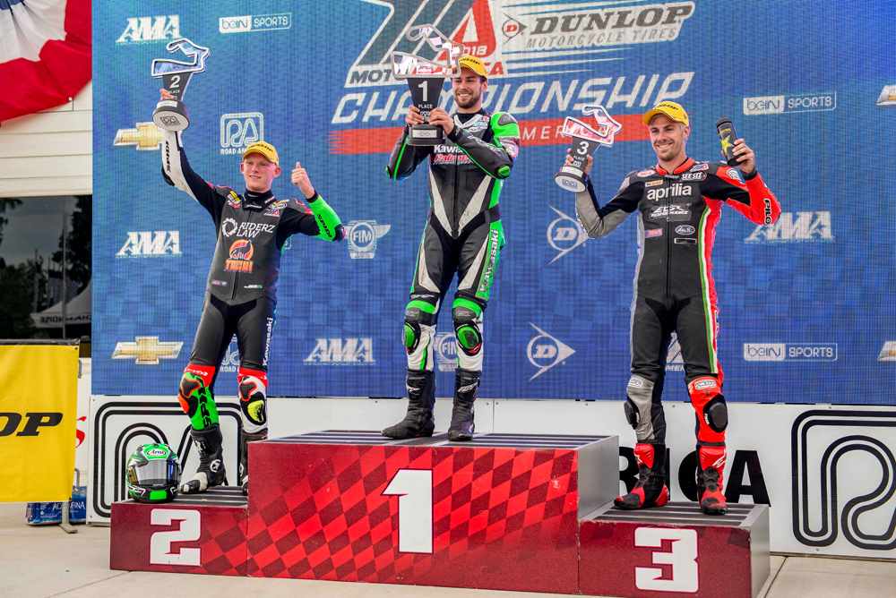 Third place for DiBrino at the 2018 Road America Stock 1000 event behind winner Shane Richardson and Andrew Lee.