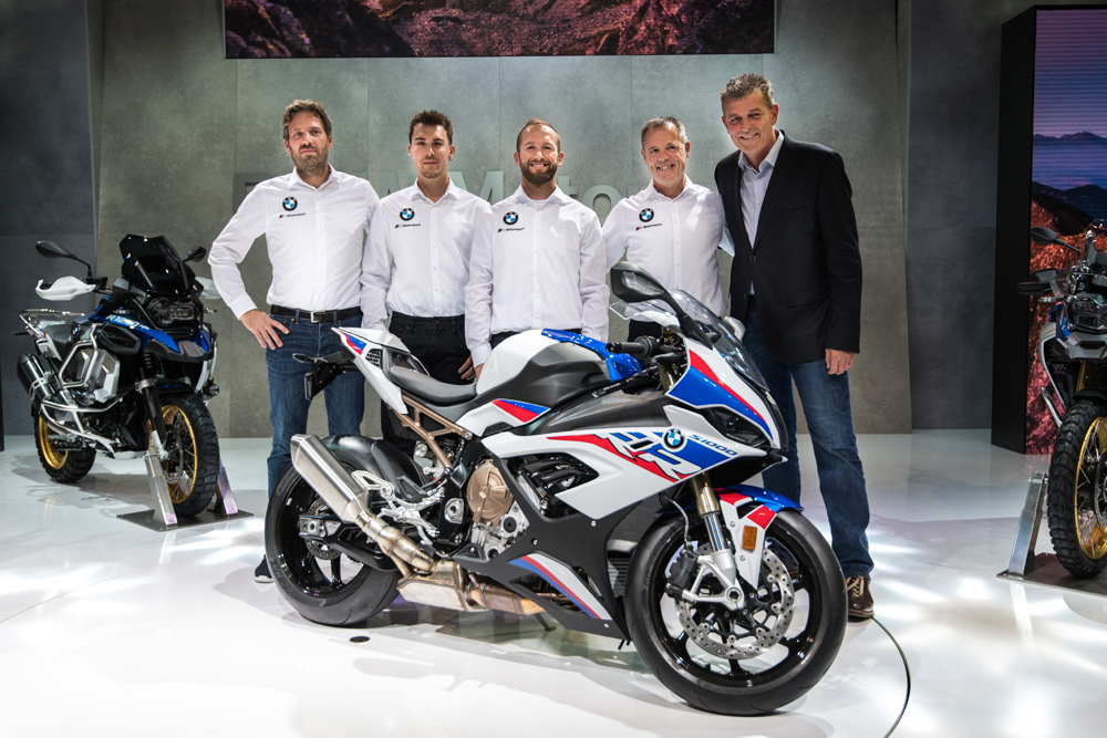 BMW will be back in WorldSBK with an officially backed team, headed by lead rider and former WorldSBK Champion Tom Sykes (center) and German SBK Champion, rider Markus Reiterberger (right of Sykes).