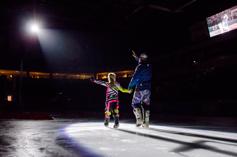 Cassie Fairfield and her dad, Drake, take to the ice during opening ceremonies.