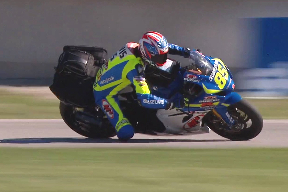 Cortech athlete Jake Lewis takes a hot lap around Road America on his Cortech luggage-equipped M4 Ecstar Suzuki GSX-R1000 MotoAmerica Superbike.