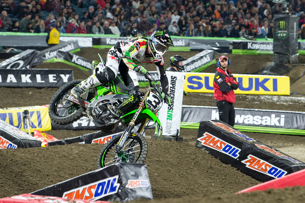 This crash while leading at Anaheim I most likely cost Tomac the 2018 Supercross Championship.