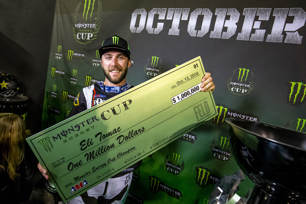 Eli Tomac capped of the year with a $1 million check that he won at the Monster Energy Cup, the last big race before Anaheim I 2019. Will he carry that momentum into Anaheim?