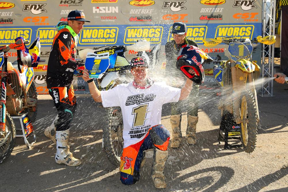 Redondi celebrates winning the 2018 WORCS title in Nevada.