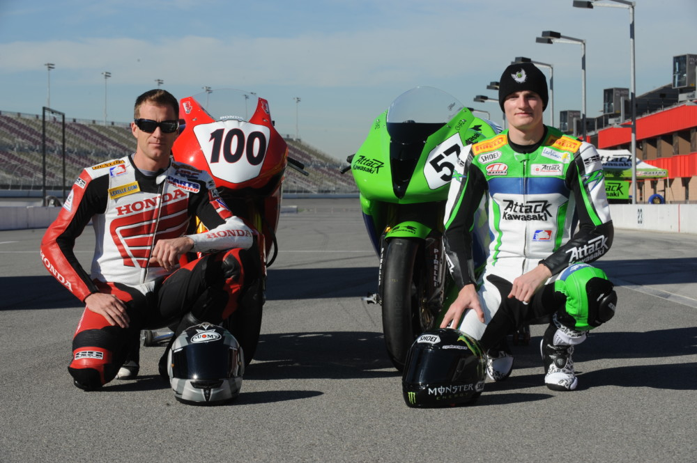 Neil Hodgson and Chaz Davies - First day of Fontana AMA test 2008