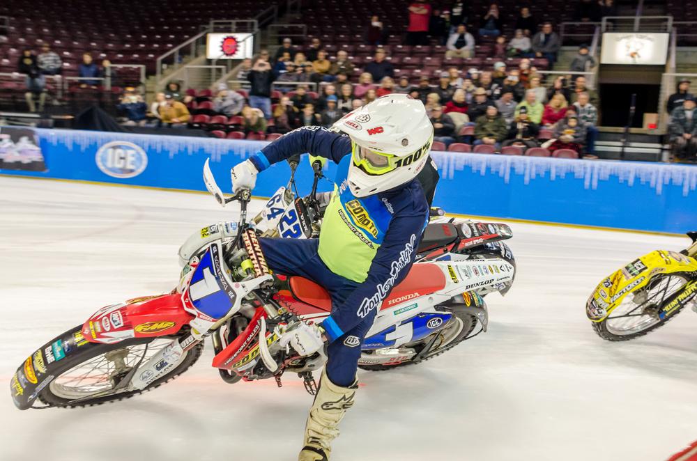 Jake Mataya races toward a second-place finish.