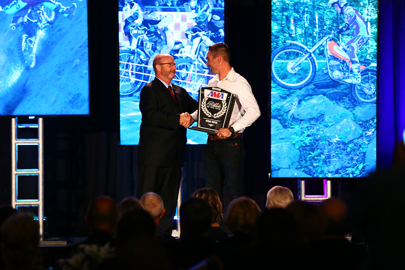 Ryan Sipes (right) accepting the 2018 AMA Athlete of the Year: National Championship Series award from AMA Director of Racing Kevin Crowther at the 2018 American Honda AMA Championship Banquet. Photo by Jeff Kardas