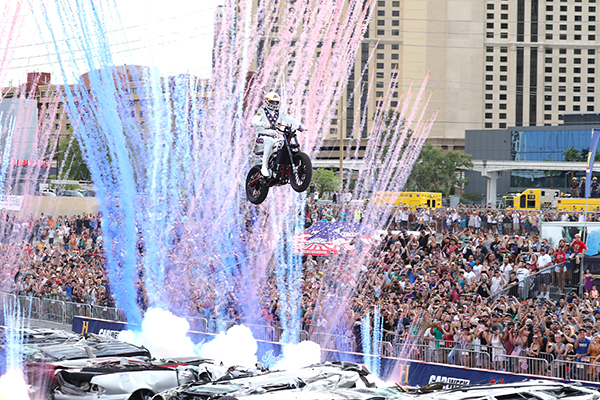 "Travis Pastrana performs during HISTORY's Live Event ""Evel Live"" on July 8, 2018, in Las Vegas, Nevada. Photo by Neilson Barnard/Getty Images for HISTORY"