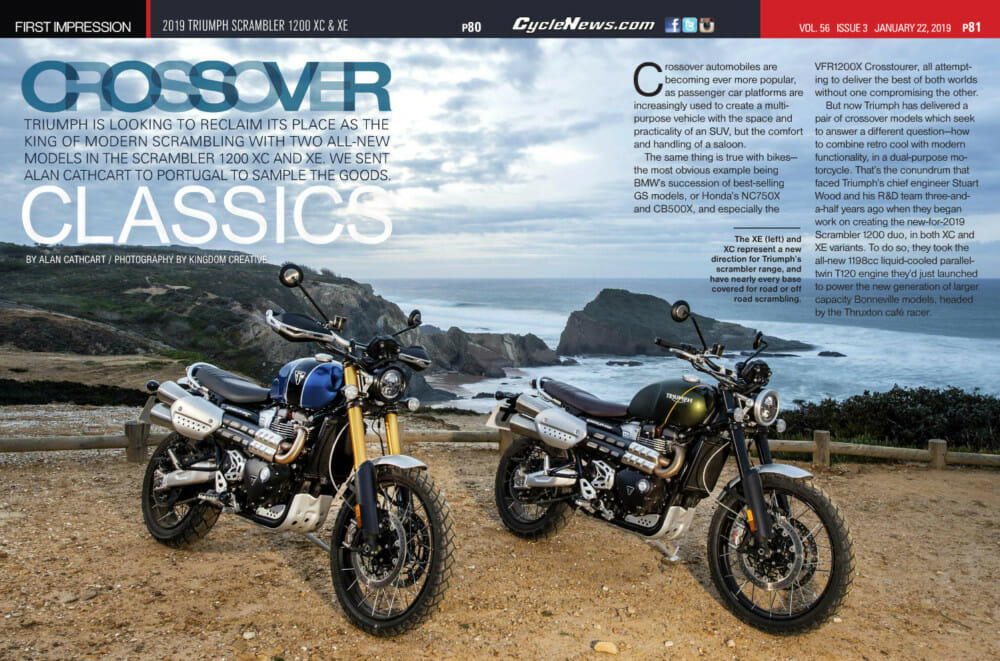 2019 Triumph Scrambler 1200 Xc Xe Review Cycle News