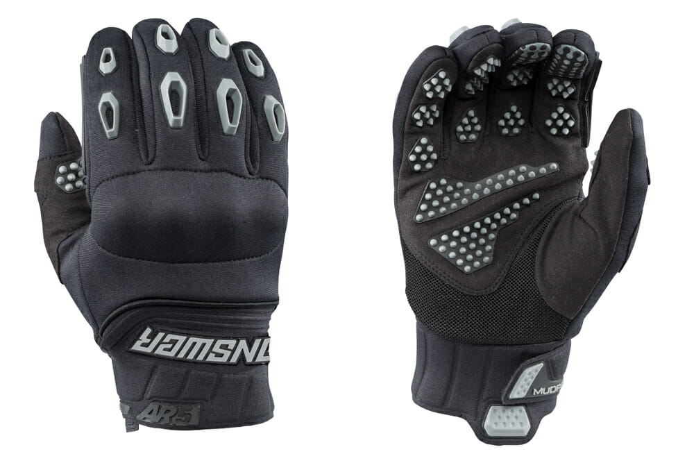 The Answer Racing AR5 Mud Pro gloves are designed to provide extra grip in muddy riding conditions.